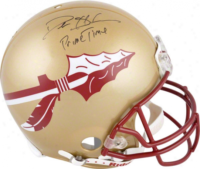 Deion Sanders Autographed Pro-line Helm  Details: Florida Condition Seminles, Inscription &quotprimetime&quot Inscription, Authentic Riddell Helmet