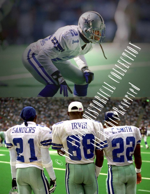 Deion Sanders, Michael Irvin, And Emmitt Smith Dallas Cowboys 16x20 Montage