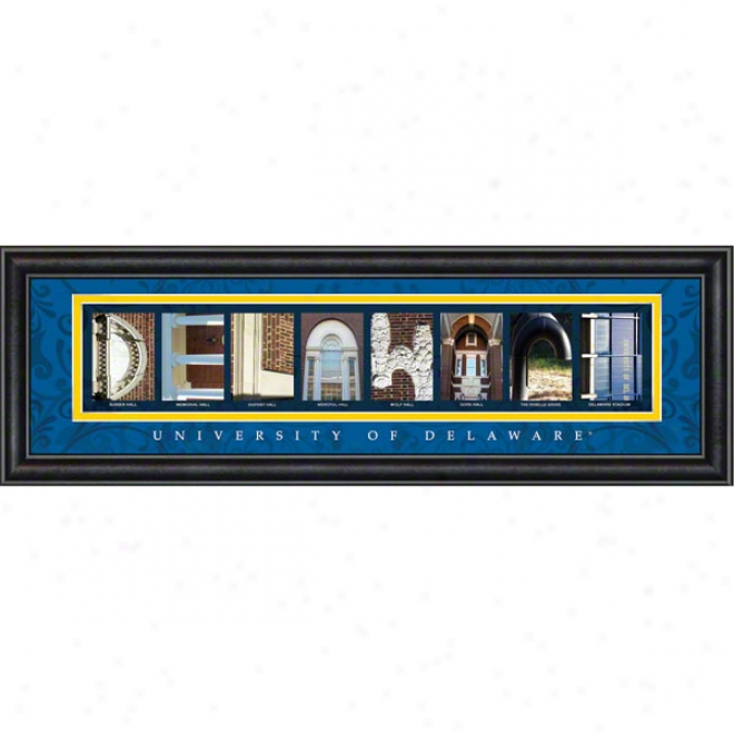 Delaware Fightin' Blue Hens Letter Art