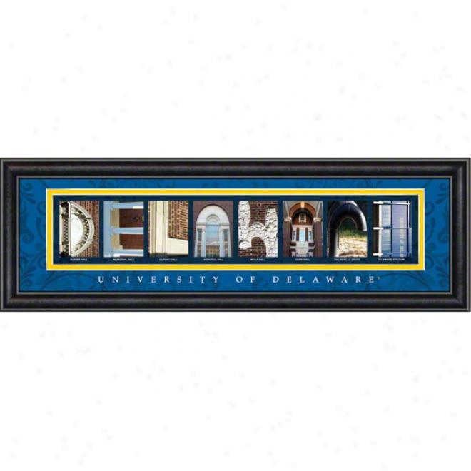 Delaware Fightin' Blue Hens Letter Art