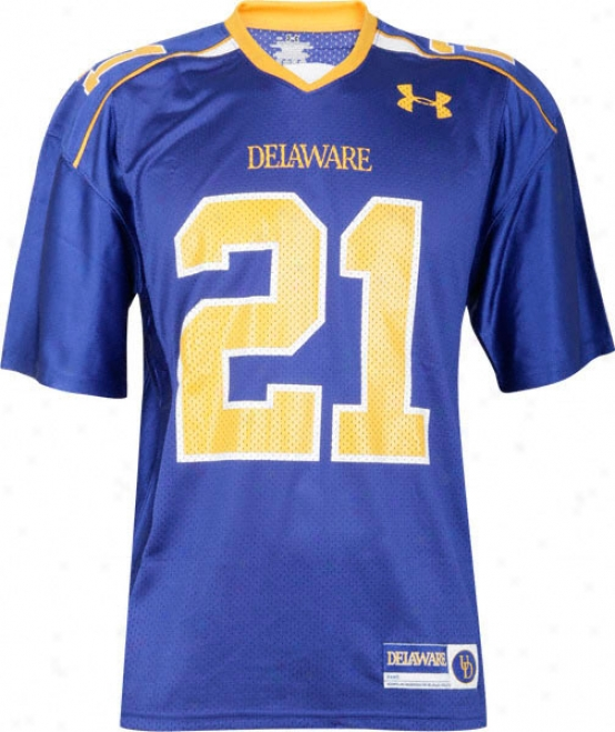 Delaware Fgihtin' Blue Hens -no. 21- Blue Under Armour Performance Replica Football Jersey