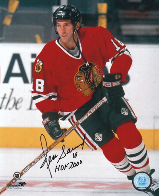 Denis Savard Chicago Blackhawks Autographed 8x10 Photograph With Hof '00 Inscription