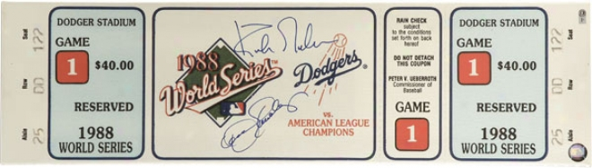 Dennis Eckersley And Kirk Gibson Dual Signed Autographed 1988 Game 1 World Series Mega Ticket