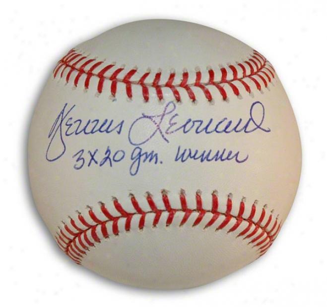 Dennis Leonard Autographed Mlb Baweball Inscribrd &quot3x 20 Gm. Winner&quot