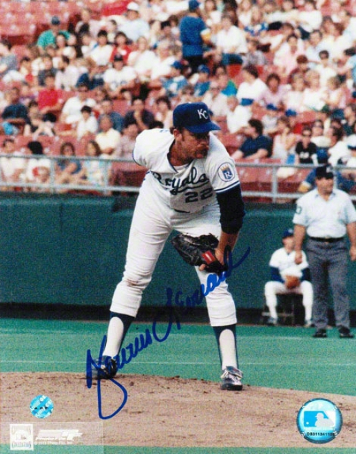 Dennis Leonard Kansae City Royals Autographed 8x10 Photo Looking For The Sign