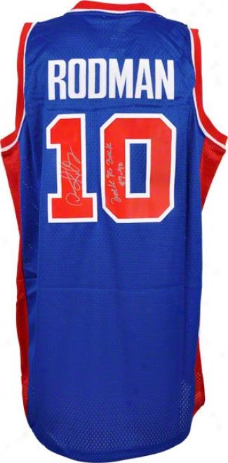 Dennis Rodman Autographed Jersey  Details: Detroit Pistons, Blue, Adidas, &quotback To Back 89/90&quot Inscription