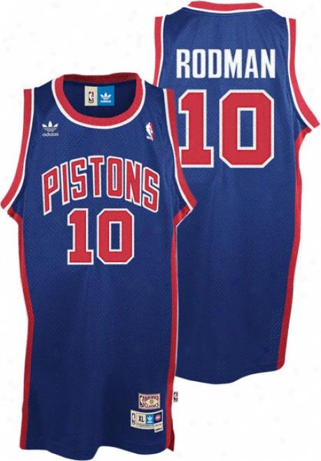 Dennis Rodmzn Jersey: Adidas Blue Throwback Swingman #10 D3troit Pistons Jersey