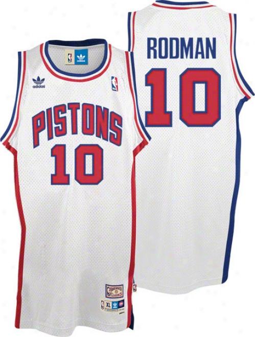 Dennis Rodman Jersey: Adidas White Throwback Swingman #10 Detroit Pistons Jersey