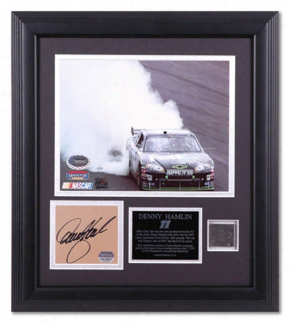 Denny Hamlin 2007 Lenox Pertaining  Tools 300 Victory Framed 8x10 Photograph Through  Autogra;ed Plate And Generation Winning Tire Piece