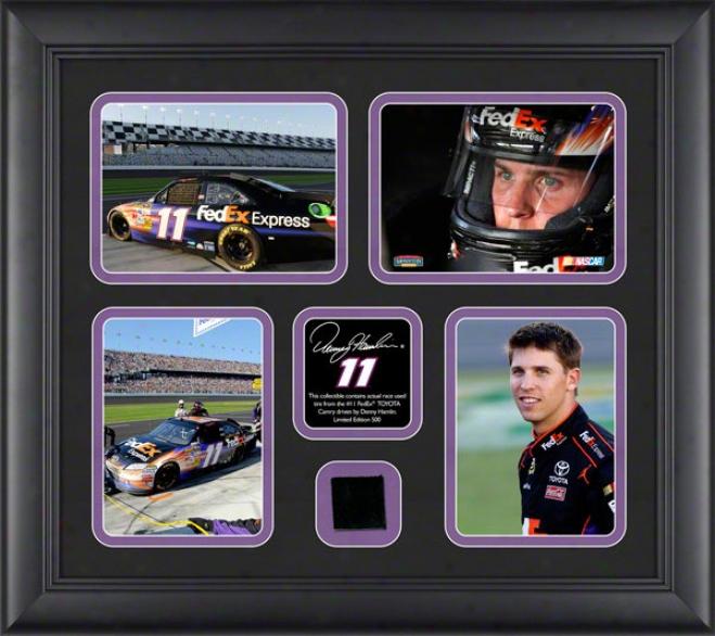 Denny Hamlin Framed 4-photograph Collage  Details: 2011 Through  Race Used Tire