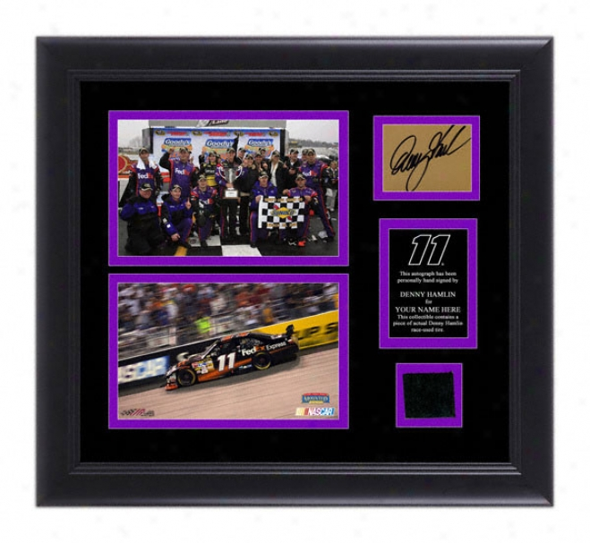 Denny Hamlin Framed 5x7 Photographs With Autographed Card, Race Tire And Perslnalized Nameplate