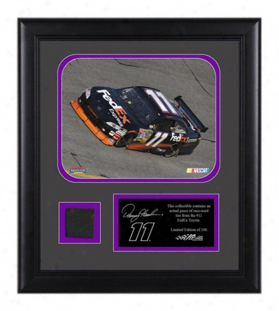 Denny Hamlin Framed 8x10 Laserchroome Photograph With Tire