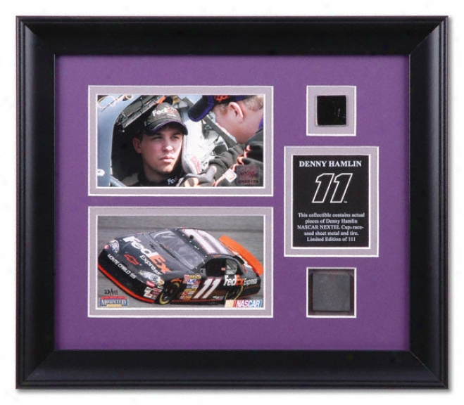 Denny Hamlin Framed Photographs With Race Used Sheet Metal And Tire Pieceq
