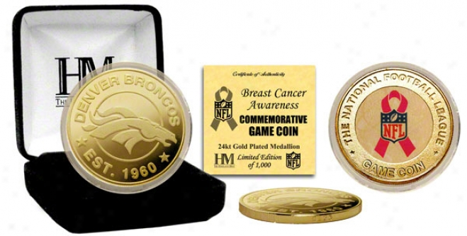 Denver Broncos Breast Cancer Awareness 24kt Gold Gmae Coin