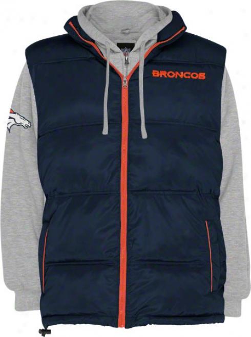 Denver Broncos Vest/fullz-ip Fleece Hooded Sweatshirt Combo