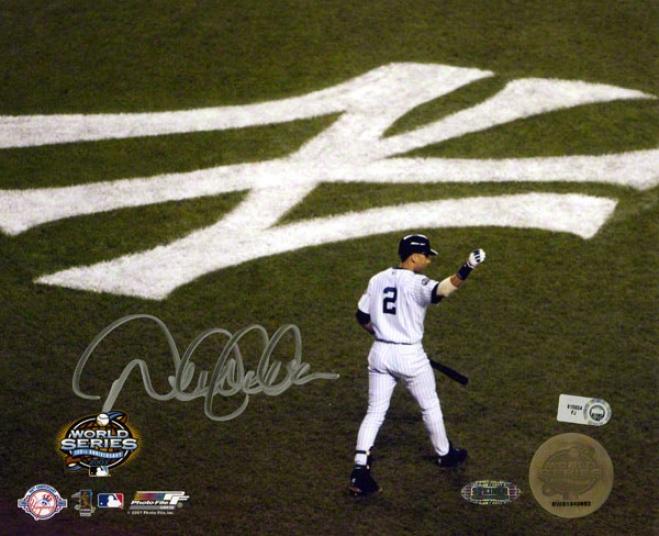 Derek Jeter Autographed 8x100  Details: Repaired York Yankees, World Series, Arm In Air