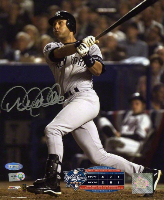 Derek Jeter Autographed 8x10 Photograph  Details: New York Yankees, 2000 World Series, 6th Inning Hr
