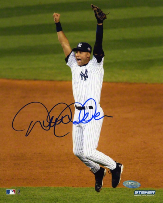 Derek Jeter Autographed Photograph  Details: New York Yankees, 2009 Ws Celebration, 8x10