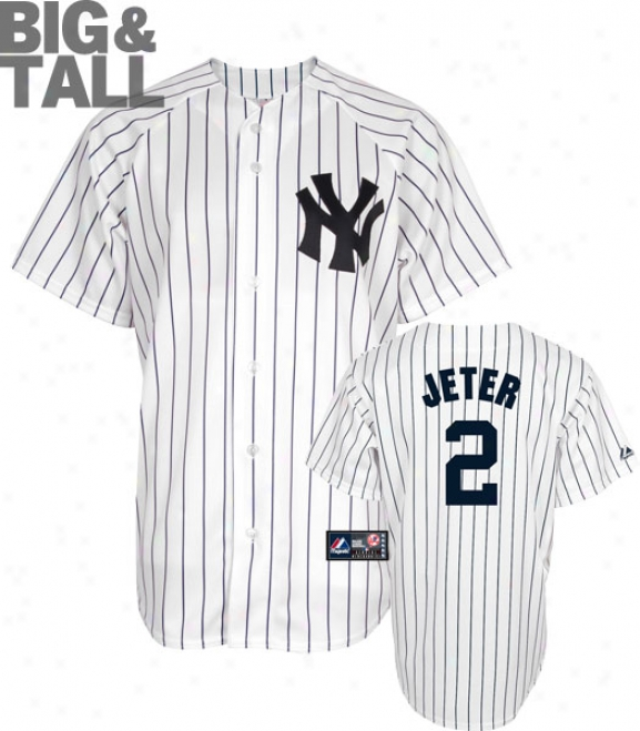 Derek Jeter Big & Tall Jersey: Adult Home Pinstripe Replica #2 New York Yankees Jersey