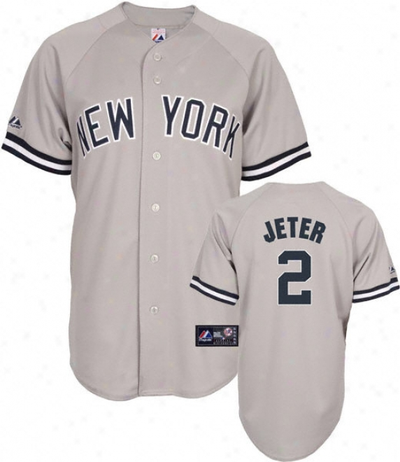 Derek Jeter Jersey: Adult Majestic Road Grey Replica #2 New York Yankees Jersey