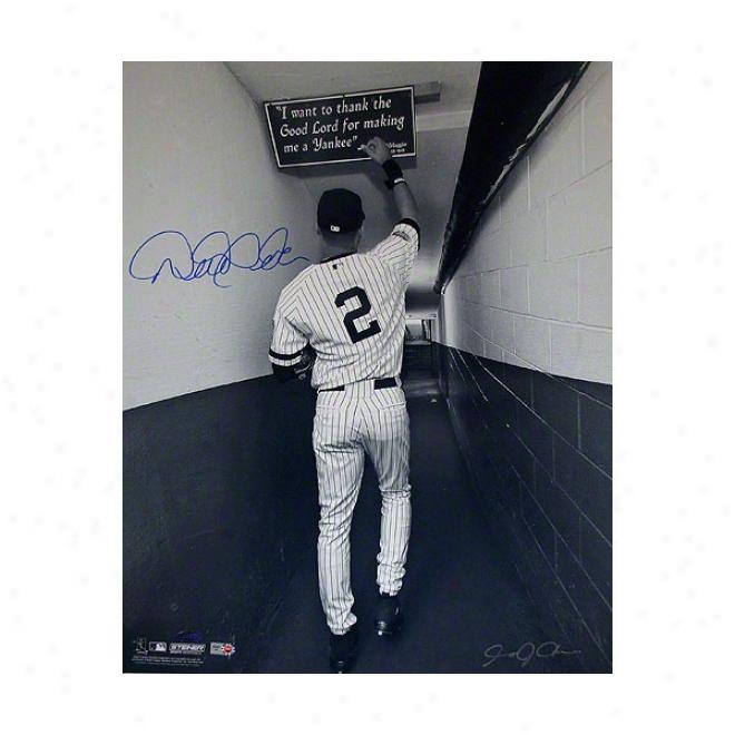 Derek Jeter New York Yankees 16x20 Autographed Photograph Shot In Primitive Yankee Stadium Tunnel- Black And White