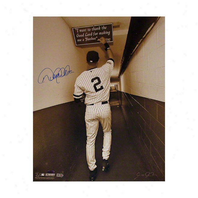 Derek Jeter Just discovered York Yankees 16x20 Autographed Photograph Ball In Original Yankee Stadium Tunnel- Sepia
