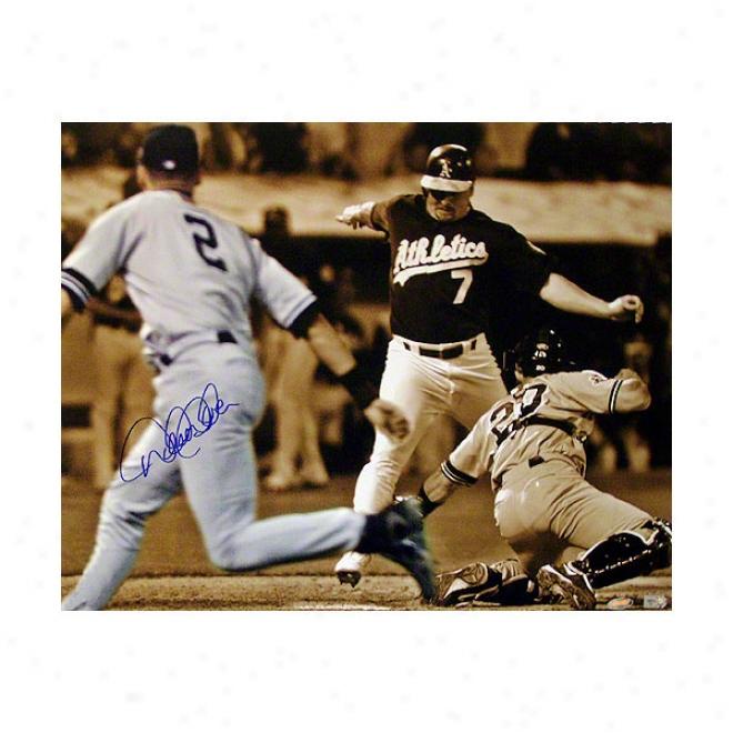 Derek Jeter New York Yankees 16x20 Flip Play Autographed Sepia Photograph
