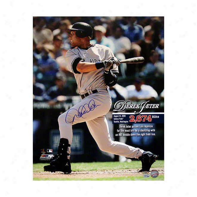 Derek Jeter New York Yankees 16x20 Record 2,674th Hit Autographed Photograph