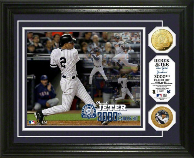 Derek Jeter New York Yankees 3000th Hit Commemorative 24kt Gpld Coin Photo Mint