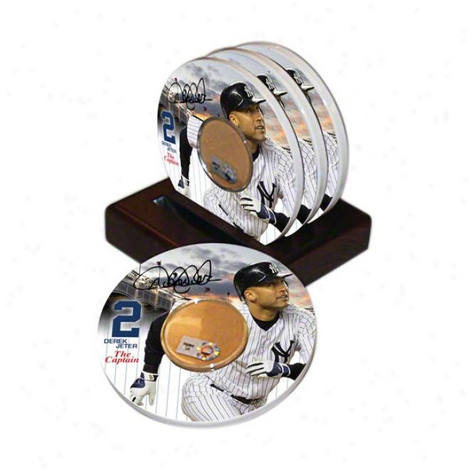 Derek Jeter New York Yankees 4 Pack Coaster Set With Game Used Dirt