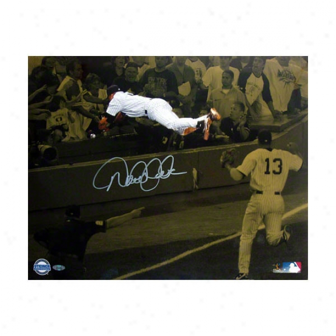 Derek Jeter New York Yankees Vs Red Sox 16x20 Dive Autographed Sepia Photograph