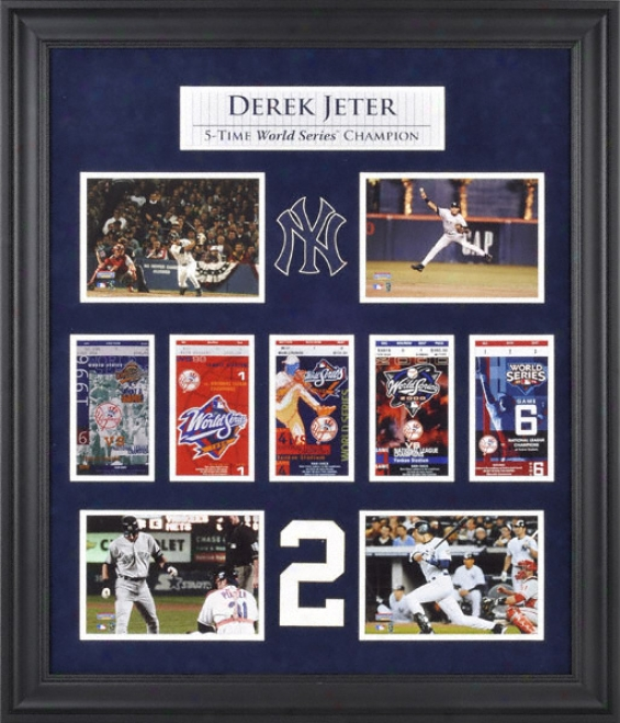 Derek J3ter New York Yankees World Series Framed CollectibleW ith Five World Series Replica Tickets
