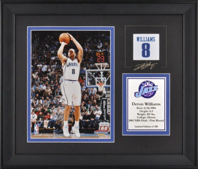 Dedon Williams Utah Jazz Framed 6x8 Photograph With Facsimile Signature And Plate - Limited Edition Of 500
