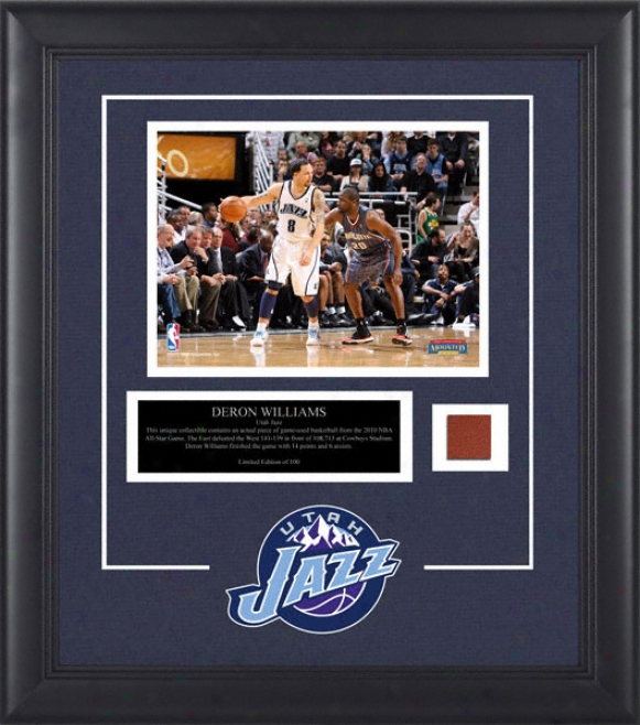 Deron Williams Utah Jazz Framed 8x10 Photograph With Game Used 2010 All Star Game Basketball Piece And Descriptive Plate