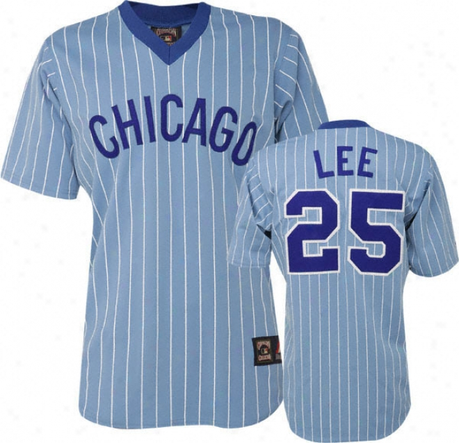 Dereek Lee Blue Majestic Light Pinstripe Cooperstown Replica Chicago Cubs Jersey