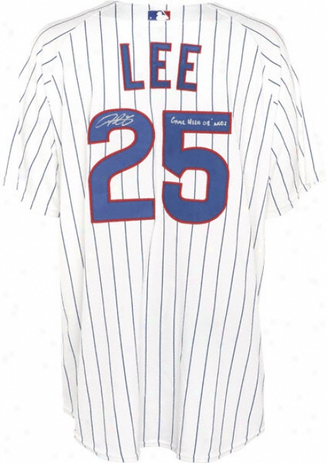 Derrrek Leeward Chicago Cubs Autographed 2008 Game Used Home Pinstripe Jersey