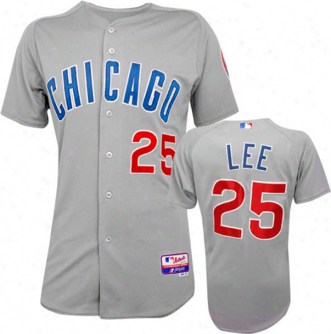 Derrek Lee Majestic Road Authentci Onfield Cool Base Chicago Cuhs Jersey