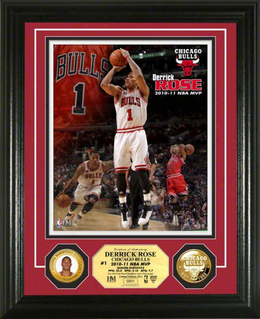 Derrick Rose Chicago Bulls: Nba Mvp 24kt Gkld Coin Photo Mint