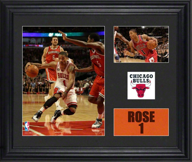 Derrick Rose Framed 2- Photograph Collage  Details: Chicago Bulls, Team Logo