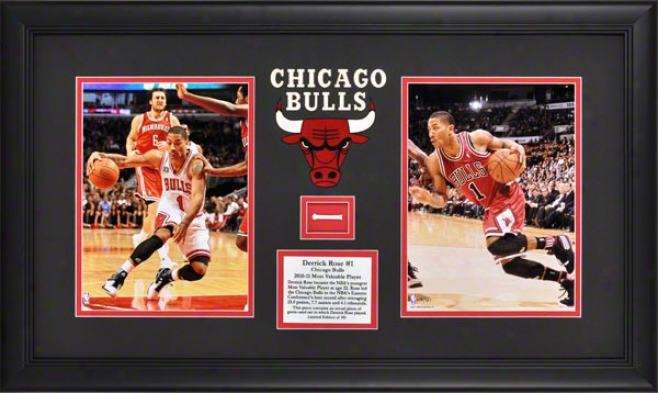 Derrick Rose Framed 2010-2011 Nba Mvp Collage  Details: Chicgao Bulls, 2-photo, Game Used Net, Logo Art