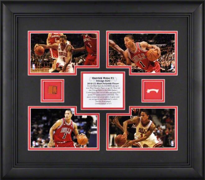 Derrick Rose Framed 2010-2011 Nba Mvp Collage  Details: Chicaho Bulls, 4-photo, Game Used Net, Basketball
