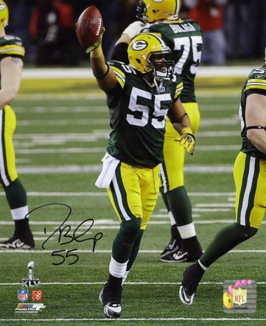 Desmond Bishop Autographed Photograph  Details: 8x10, Green Bay Packers
