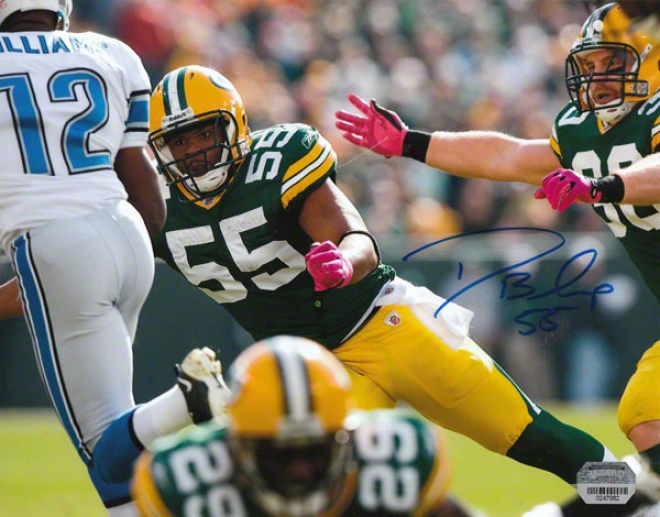 Desmond Bishop Autographed Photograph  Details: Green Bay Packers, 8x10