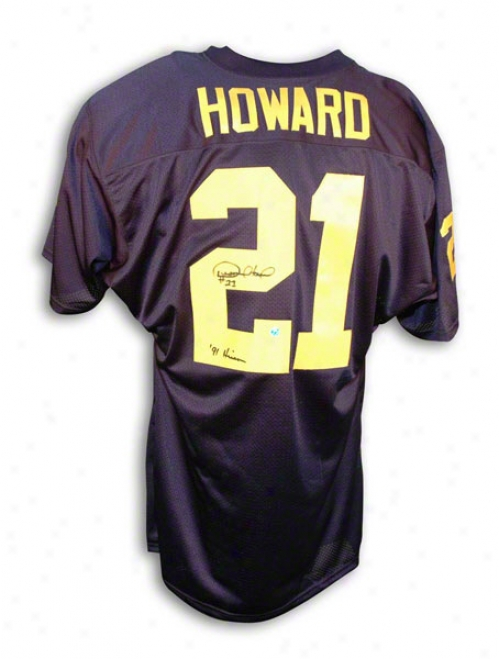 Desmond Howard Autographed University Of Michigan Blue Jersey Inscribed &quot91 Heisman&quot