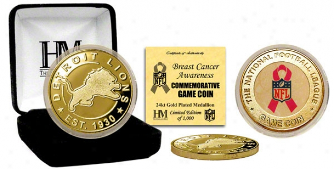 Dettiot Lions Breast Cancer Awareness 24kt Gold Game Coin