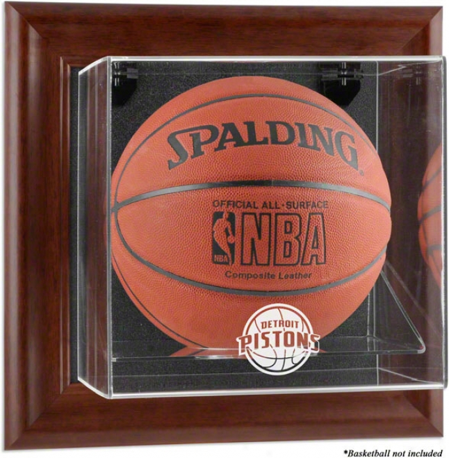 Dwtroit Pistons Framed Wall Mounted Logo Bassketball Display Case
