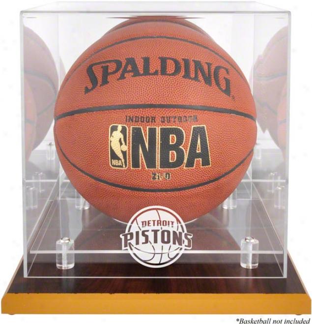 Detroit Pistons Woodbase Logo Basketball Parade Case And Mirrorr Back