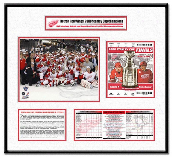 Detroit Red Wings - 2008 Stanley Cup Champs Team Celebration - Ticket Frame