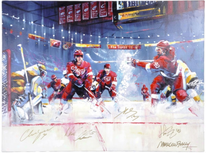 Detroit Red Wings Autographed Team Signed 30x40 Giclee - By Malcolm Farley