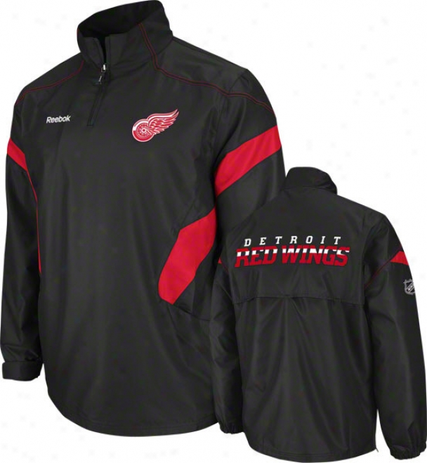 Detroit Red Wings Black Center Ice 1/4 Zip Hot Jacket